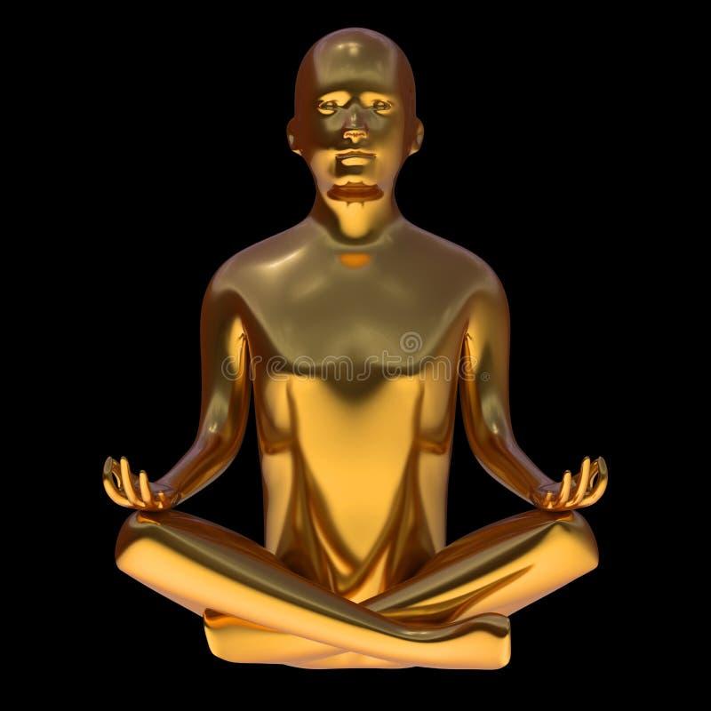 illustrationen 3d av yogalotusblomma poserar mannen det guld- stiliserade diagramet royaltyfri illustrationer