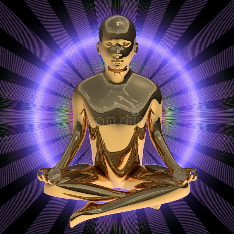 illustrationen 3d av yogamandiagramet lotusblomma poserar den stiliserade guld- kroppen royaltyfri illustrationer