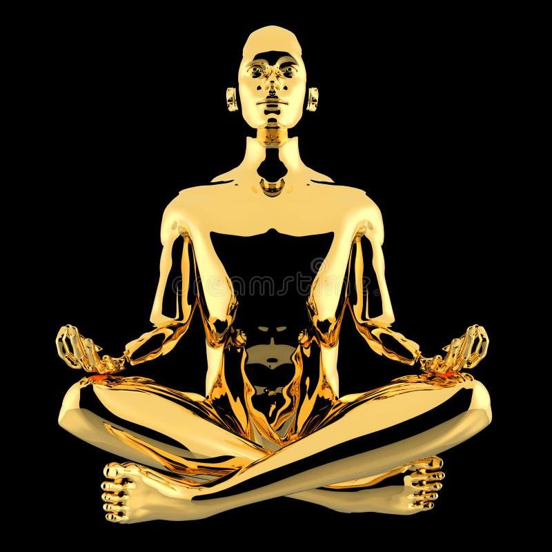 illustrationen 3d av yogamannen som lotusblomma poserar det guld- teckenet, stiliserade vektor illustrationer