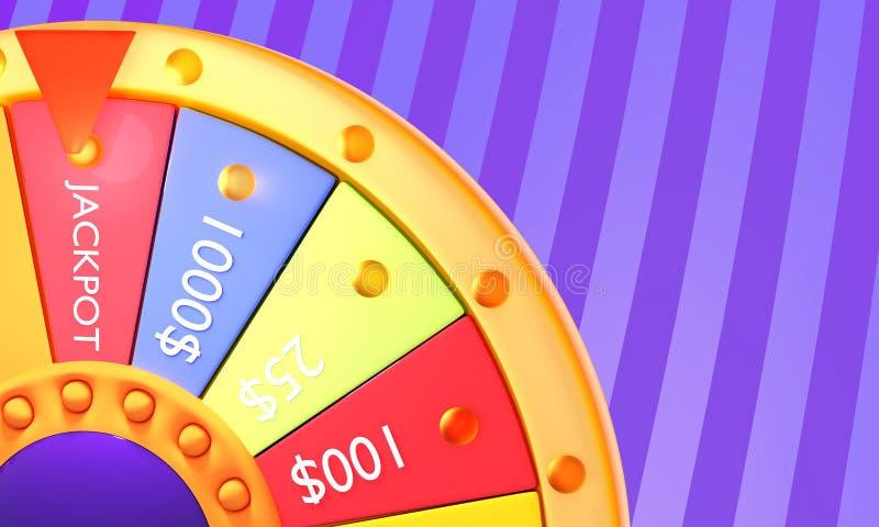 illustrationen 3d framför Hjul av förmögenhet för lek- och segerjackpott stock illustrationer