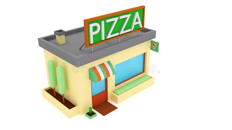illustrationen 3d framför Pizza shoppar symbolen Den isometriska illustrationen av pizza shoppar symbolen 3d för rengöringsduk vektor illustrationer