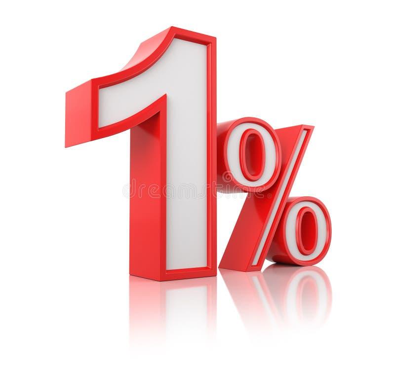 illustrationen 3d framf?r Röd en procent på en vit bakgrund stock illustrationer
