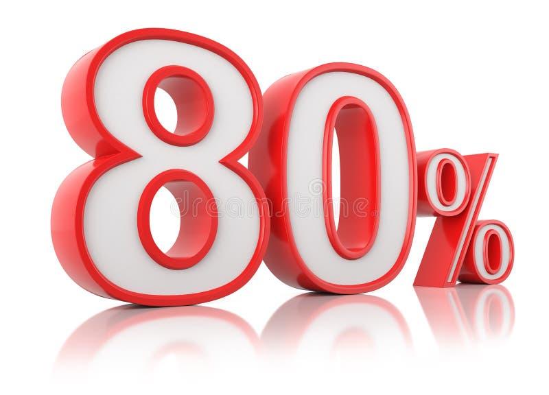 illustrationen 3d framf?r Röda åttio procent på en vit bakgrund royaltyfri illustrationer