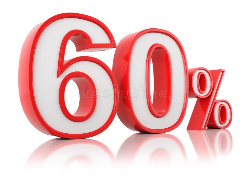 illustrationen 3d framf?r Röda sextio procent på en vit bakgrund vektor illustrationer