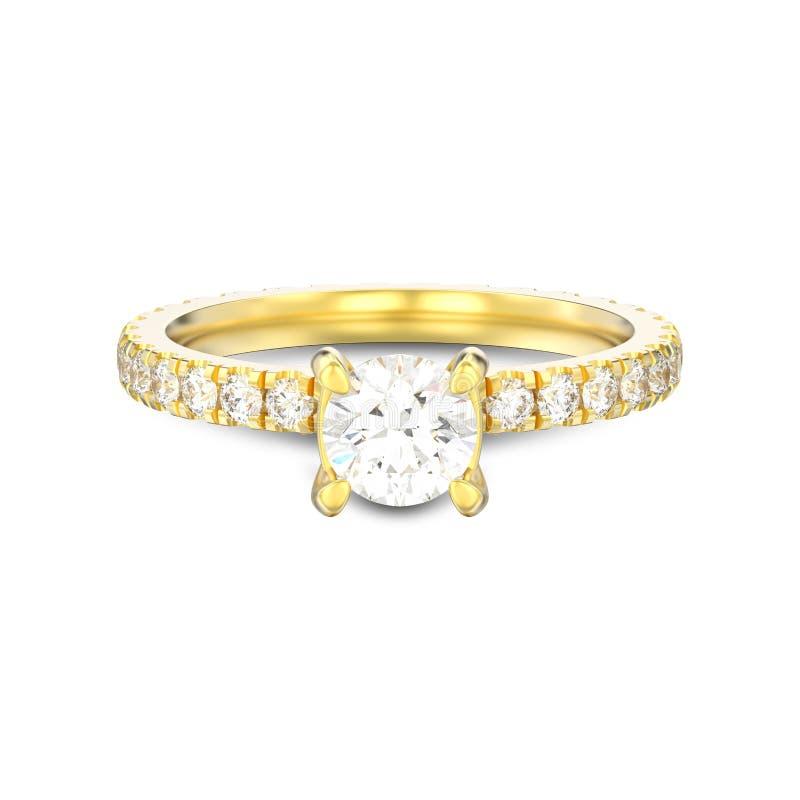 illustrationen 3D isolerade guld- wi för diamantkopplingsvigselringen stock illustrationer