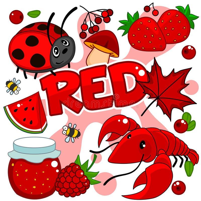 Illustrationen der roten Farbe vektor abbildung