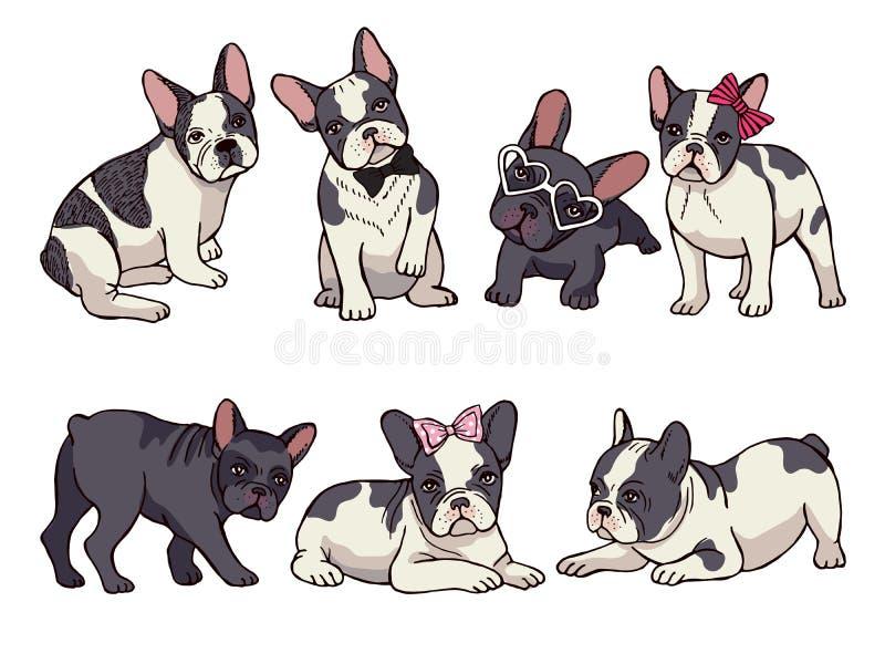 Illustrationen eingestellt von der netten kleinen französischen Bulldogge Lustige Bilder des Welpen vektor abbildung