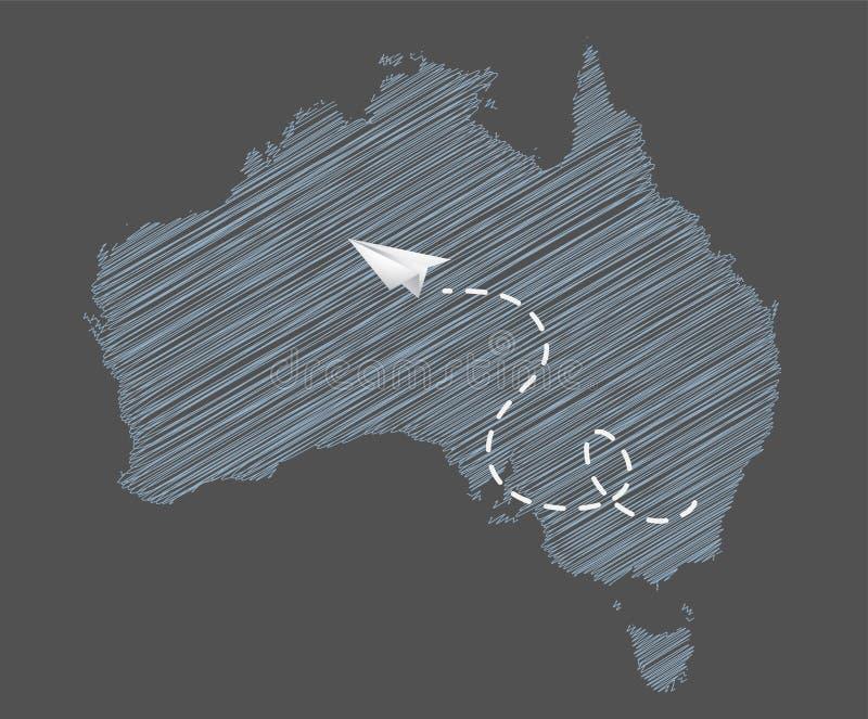 Illustrationen för Australien flygbolagbegrepp med en pappers- nivå vektor illustrationer