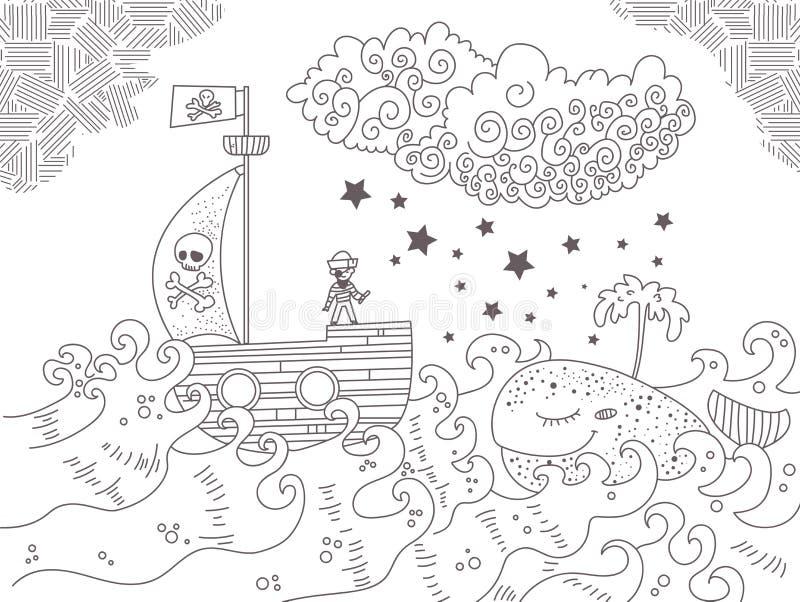 Illustrationen för barn` s med piratkopierar skeppet royaltyfri illustrationer