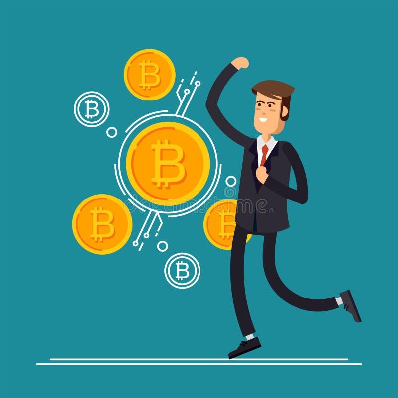 Illustrationen för den Bitcoin begreppsvektorn av affärsmannen hoppar jublar därför att honom danandeinvesteringar för bitcoin oc vektor illustrationer