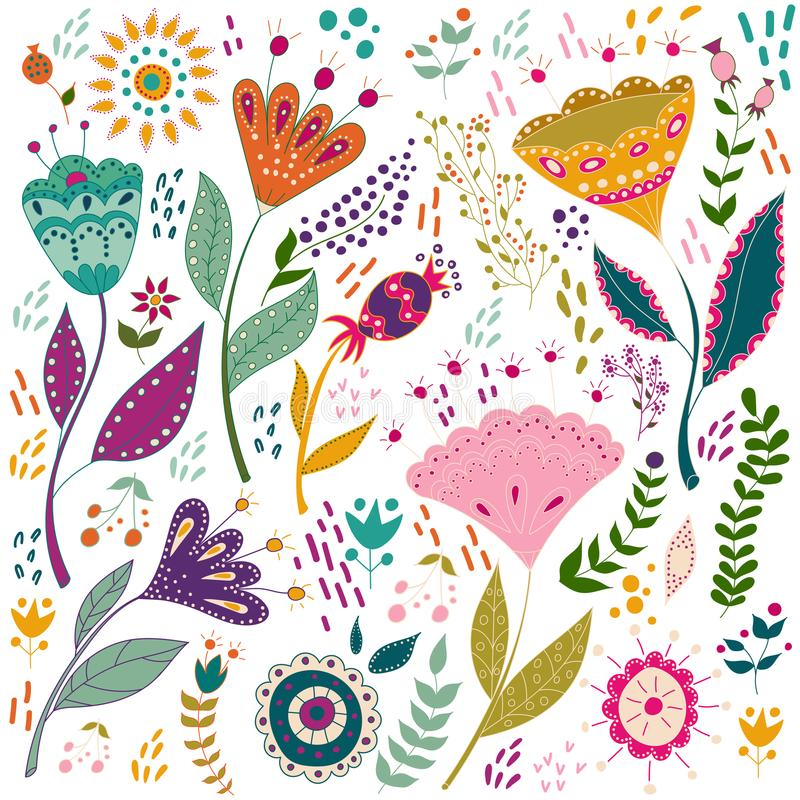 Illustrationen för den fastställda vektorn för konst blommar den färgrika med härliga fåglar Konstaffisch för garnering din inre  stock illustrationer