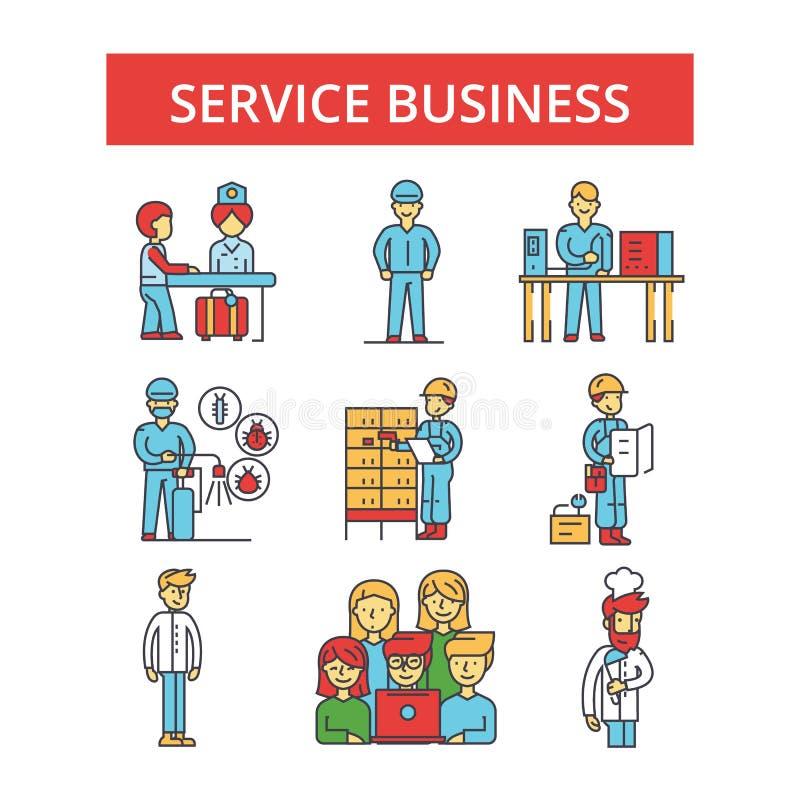 Illustrationen för den tjänste- affären, gör linjen symboler, linjärt plant tecken tunnare royaltyfri illustrationer