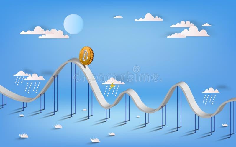 Illustrationen för det Bitcoin valutasymbolet och för affärsgrafen planlägger I vektor illustrationer