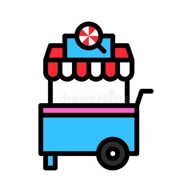 Illustrationen för godisvagnsvektorn, fyllde den redigerbara översikten för stilsymbolen vektor illustrationer