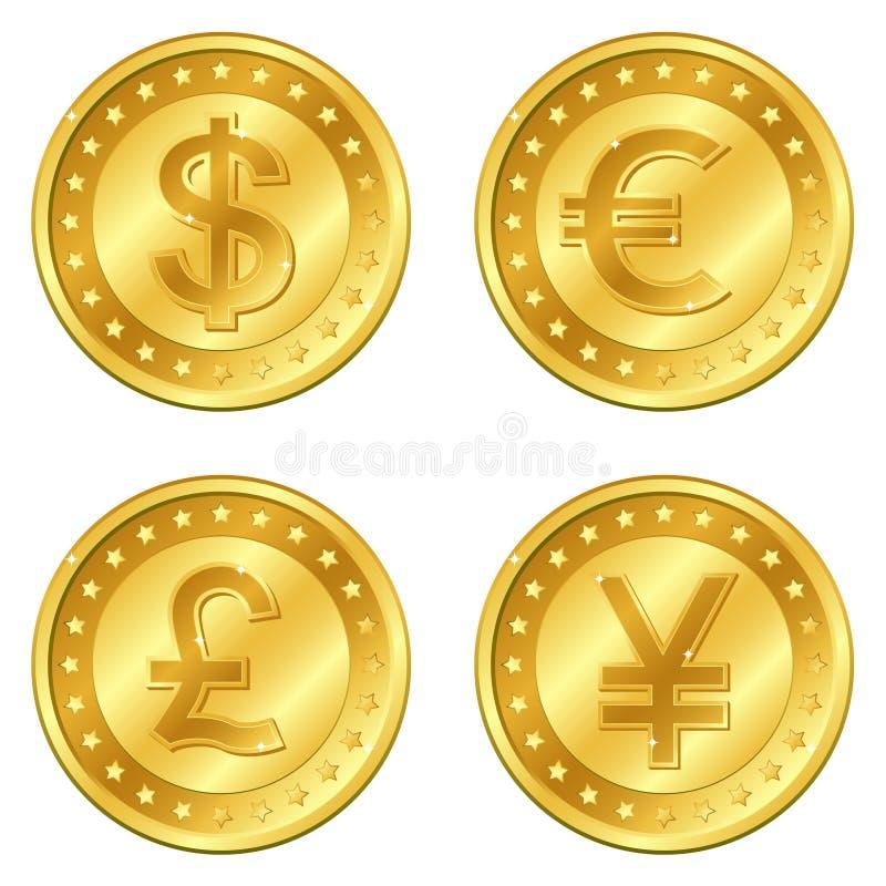 illustrationen för guld för eps för 4 10 myntvalutor i lager majoren placerade reflexioner avskilda genomskinliga vektorn för sku royaltyfri illustrationer