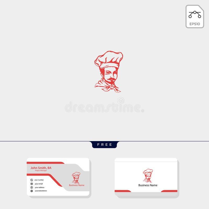 illustrationen för kocklogomallen, den fria mallen för affärskortdesignen inkluderar stock illustrationer