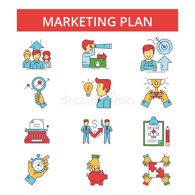 Illustrationen för marknadsföringsplanet, gör linjen symboler, linjärt plant tecken tunnare stock illustrationer