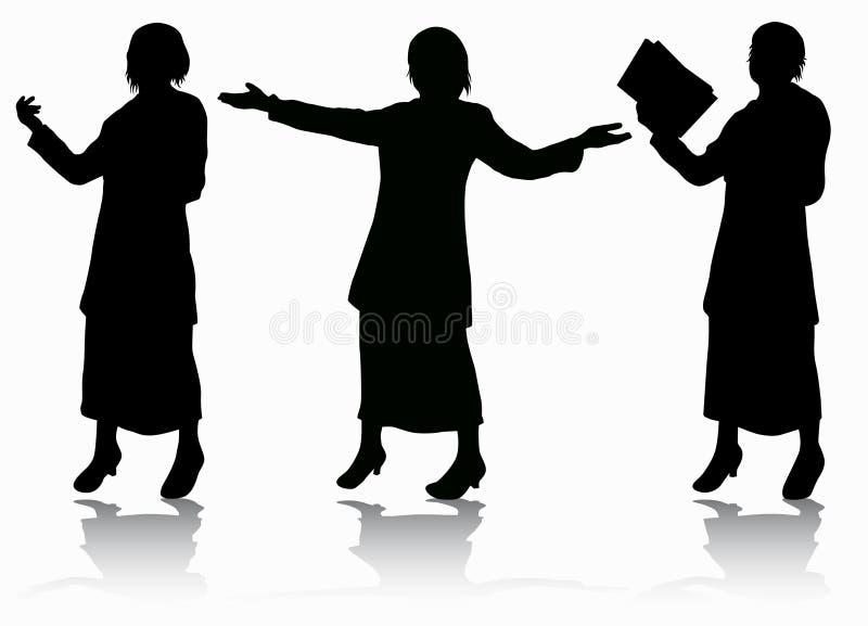 illustrationen för mode för bakgrundsaffärskortet silhouettes stilvektorkvinnor royaltyfri illustrationer