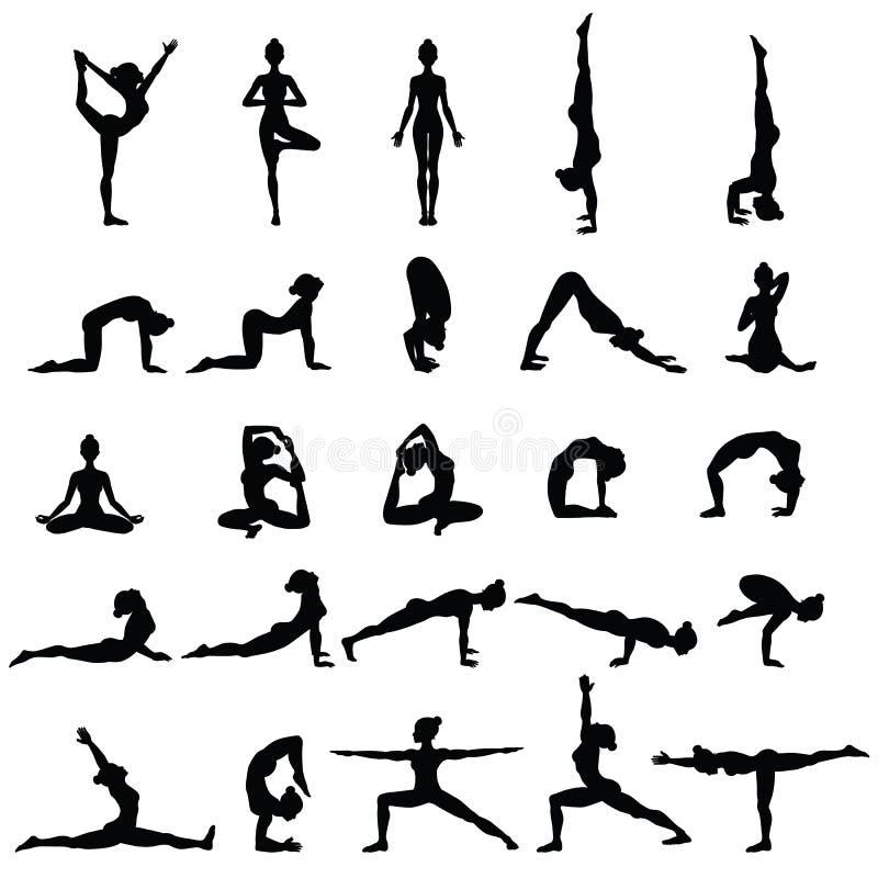 illustrationen för mode för bakgrundsaffärskortet silhouettes stilvektorkvinnor Samlingen av yoga poserar Asana uppsättning royaltyfri illustrationer