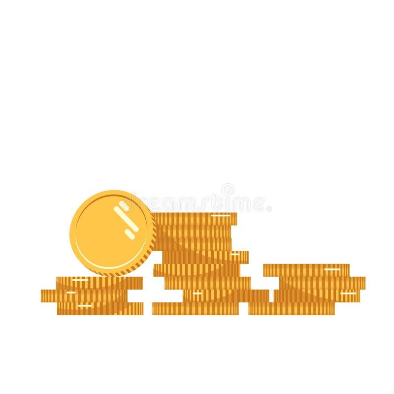 Illustrationen för myntbuntvektorn, myntsymbolslägenheten, mynt traver, myntpengar, ett guld- myntanseende på staplad guld vektor illustrationer