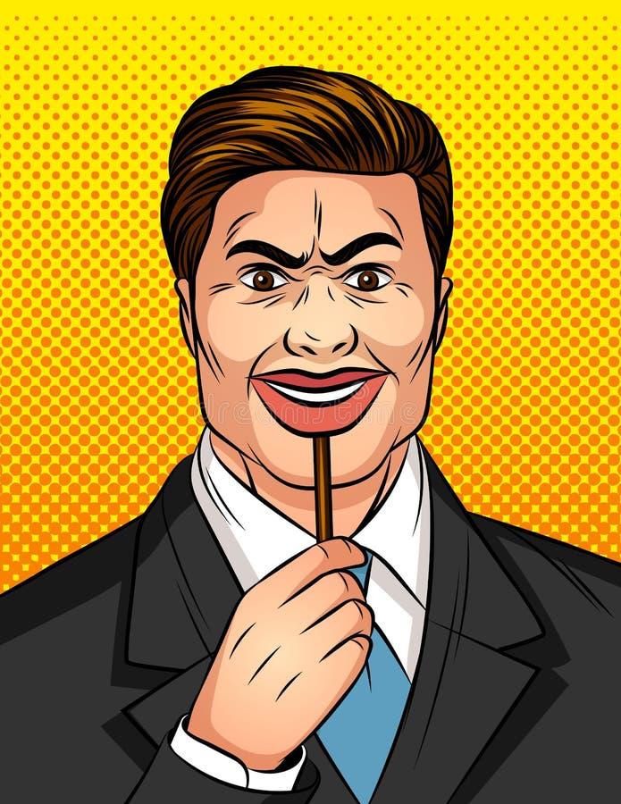 Illustrationen för stil för konst för färgvektorpopet fejkar den komiska av en man med leende En man döljer hans sinnesrörelser u royaltyfri illustrationer