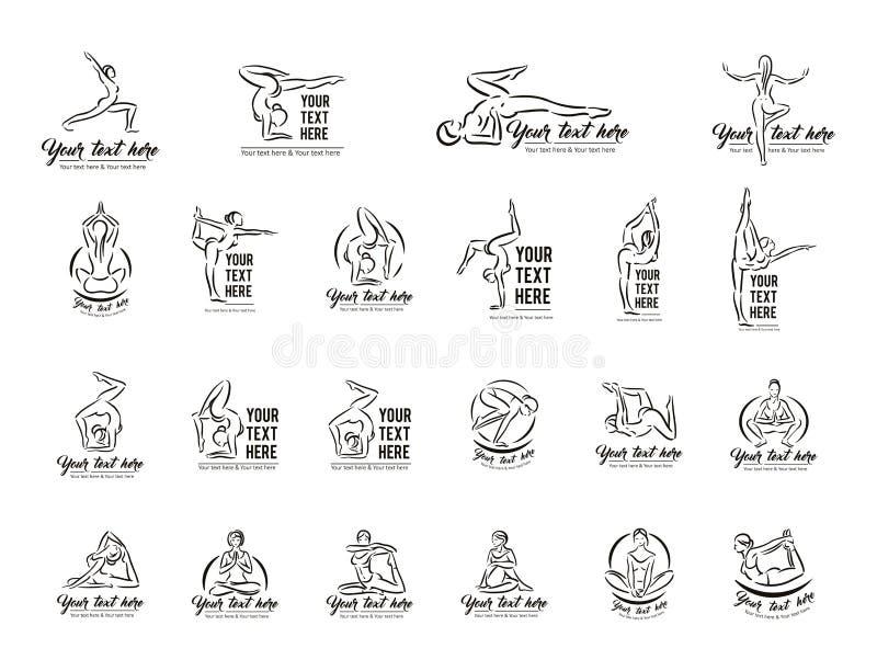 Illustrationen för symbolen för symbolet för kvinnayogakonturn ställde in i linjen stil vektor illustrationer