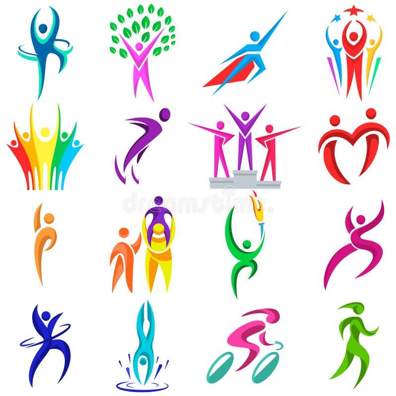 Illustrationen för symboler för vinnaren och för konkurrens för idrottsman för logotyp för kondition för vektor för folklogosport stock illustrationer