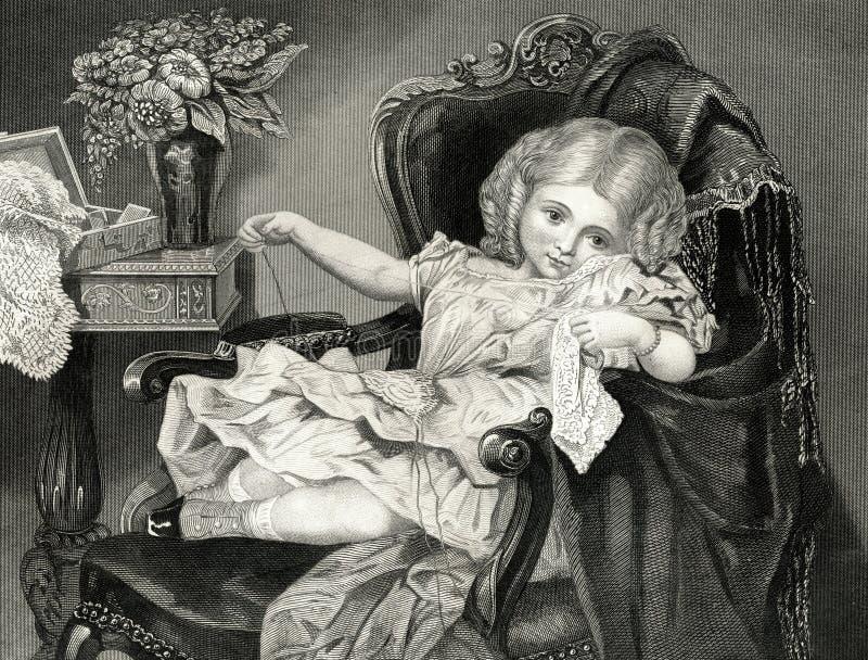 Illustrationen för tappning för flicka för liten ofogtillverkare den viktorianska royaltyfri illustrationer
