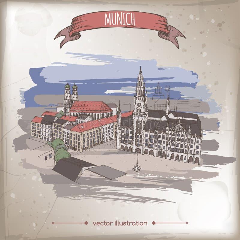 Illustrationen för tappningfärgloppet med Munich, Tyskland, den gamla staden skissar stock illustrationer