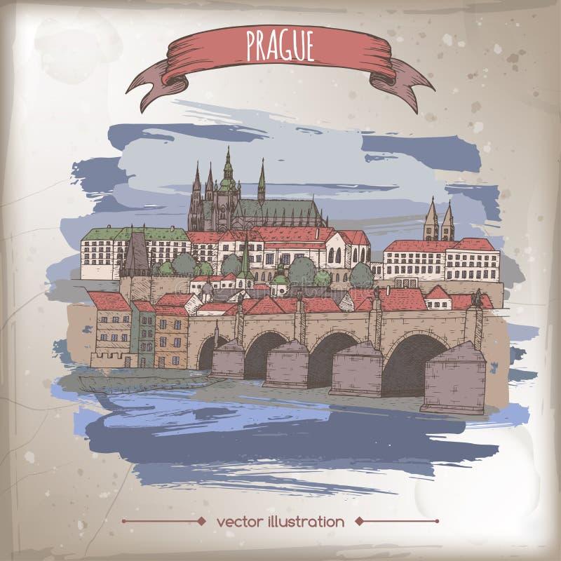 Illustrationen för tappningfärgloppet med Prague, Tjeckien, den gamla staden skissar stock illustrationer