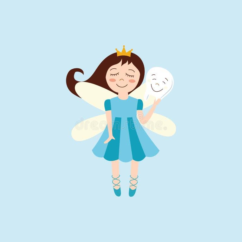 Illustrationen för tecknade filmen för den gulliga skaparen för tandfen härliga magiska isolerade den plana vektor illustrationer
