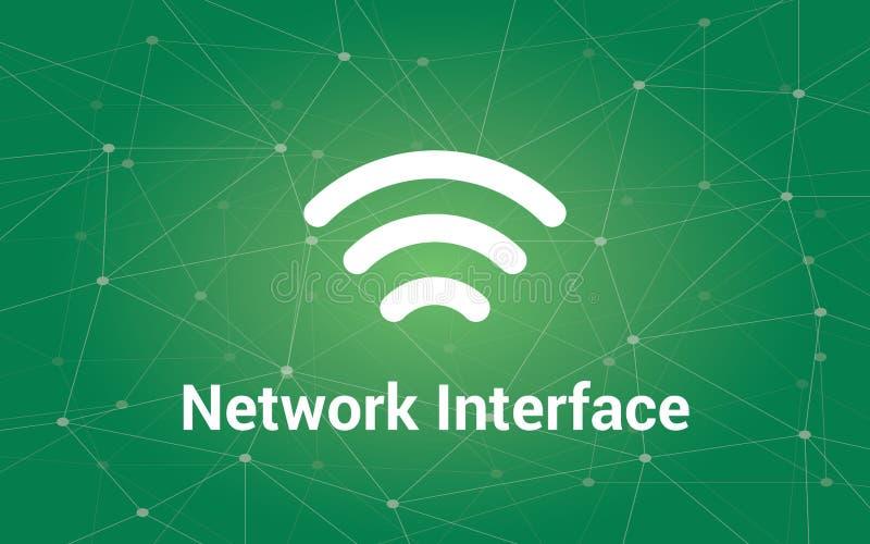 Illustrationen för text för nätverksmanöverenheten bommar för den vita med grön konstellation som bakgrund och signalen symbolen vektor illustrationer