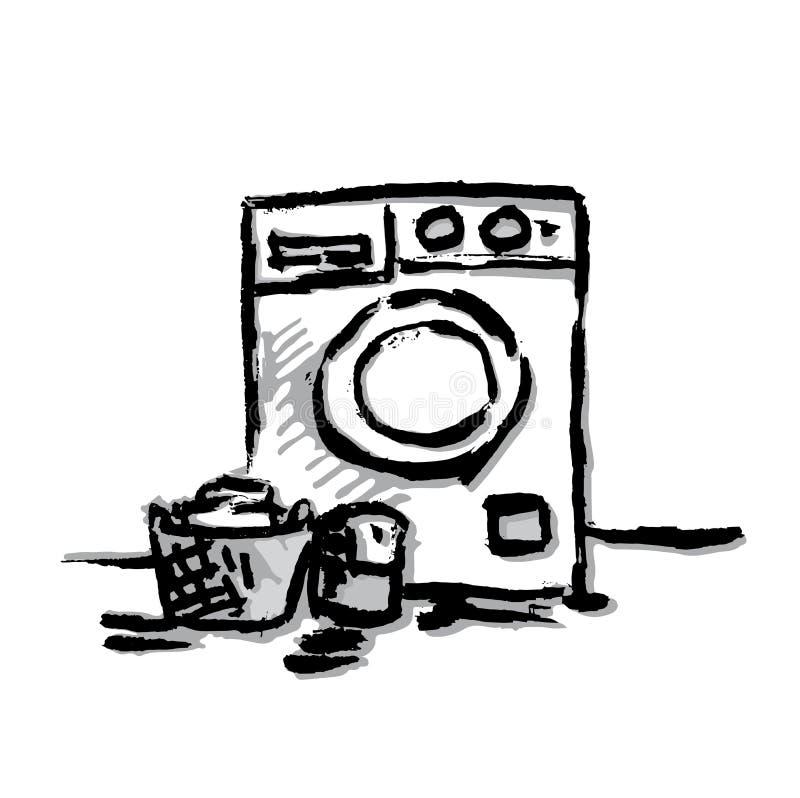 Illustrationen för tvagningmaskinen skissar royaltyfri illustrationer