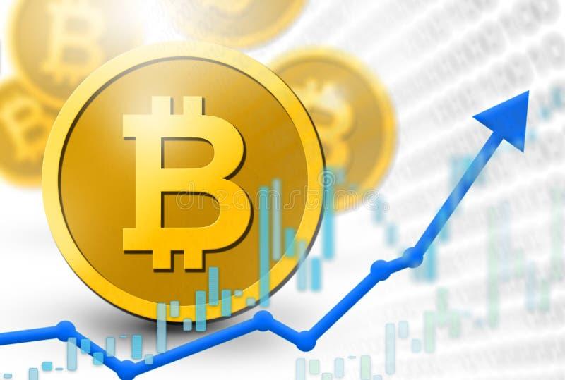 Illustrationen för valuta för Bitcoin mynt ökar den faktiska med mynt 3D och uppsvingvinst begrepp Digital pengarsystem som hotar royaltyfri illustrationer