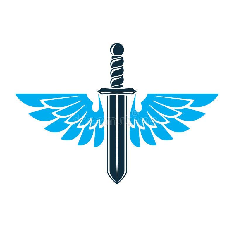 Illustrationen för vektordiagrammet av svärdet som skapas med fågeln, påskyndar, lodisar stock illustrationer