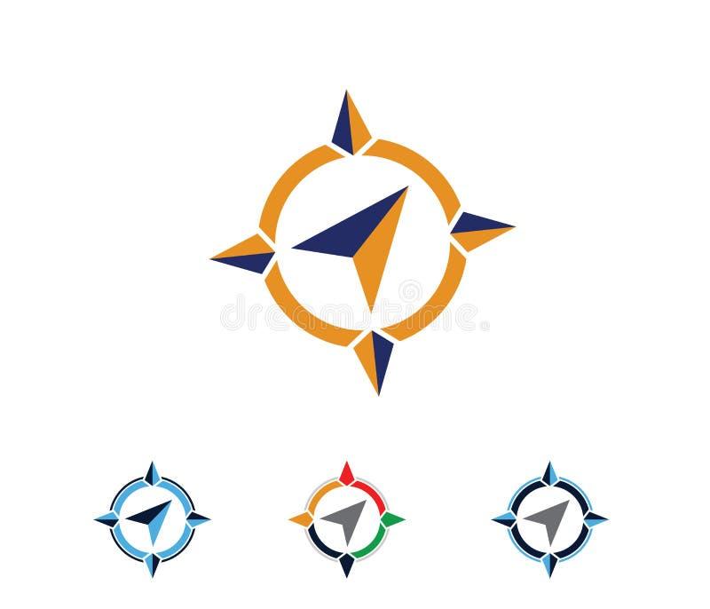 Illustrationen för vektorlogodesignen för lopp turnerar byrån, affärsföretag för lägenavigeringkompass, undersöker symbolen vektor illustrationer