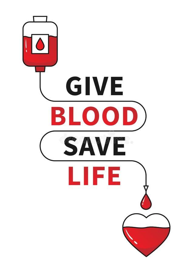 Illustrationen för vektorn för bloddonation med röd hjärta och droppe kontrar stock illustrationer