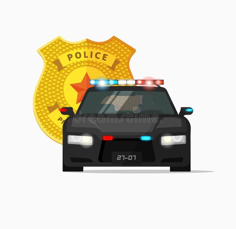 Illustrationen för vektorn för polisbilen, haffar automatiskn, stads- patrullbil royaltyfri illustrationer