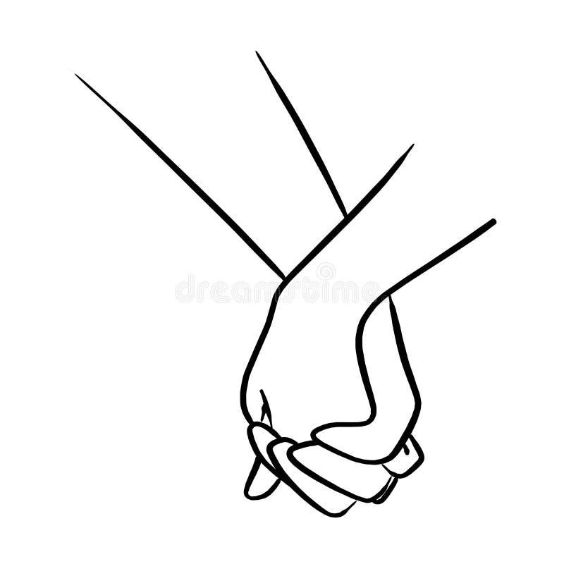 Illustrationen för vektorn för handen för närbildväninnehavet skissar handattraktion stock illustrationer