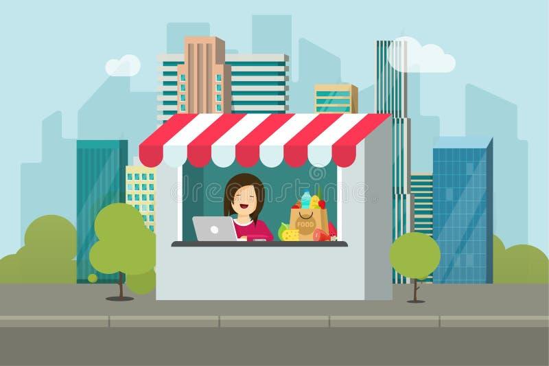 Illustrationen för vektorn för lagerdetaljhandelfasaden, den plana tecknad filmdesignen av shoppar byggnad på stadsgatan, skyltfö royaltyfri illustrationer