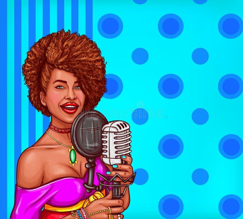 Illustrationen för vektorpopkonst av en svart kvinna sjunger i tappningmikrofon royaltyfri illustrationer
