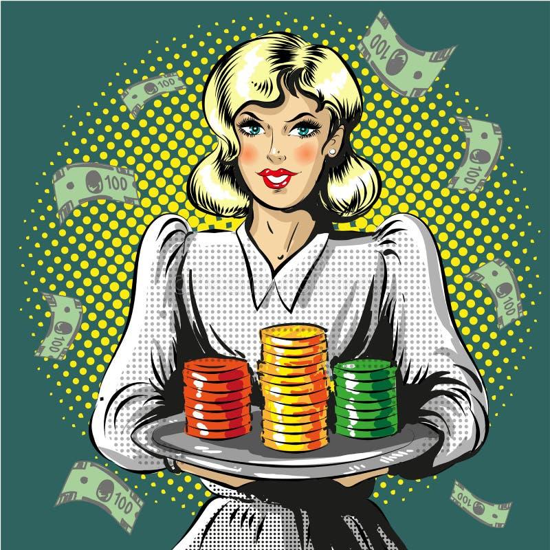 Illustrationen för vektorpopkonst av kvinnan med dobbleri gå i flisor royaltyfri illustrationer
