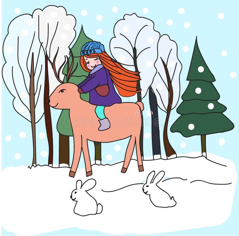 Illustrationen i barns dra stilflicka med en hjort går i skogen stock illustrationer