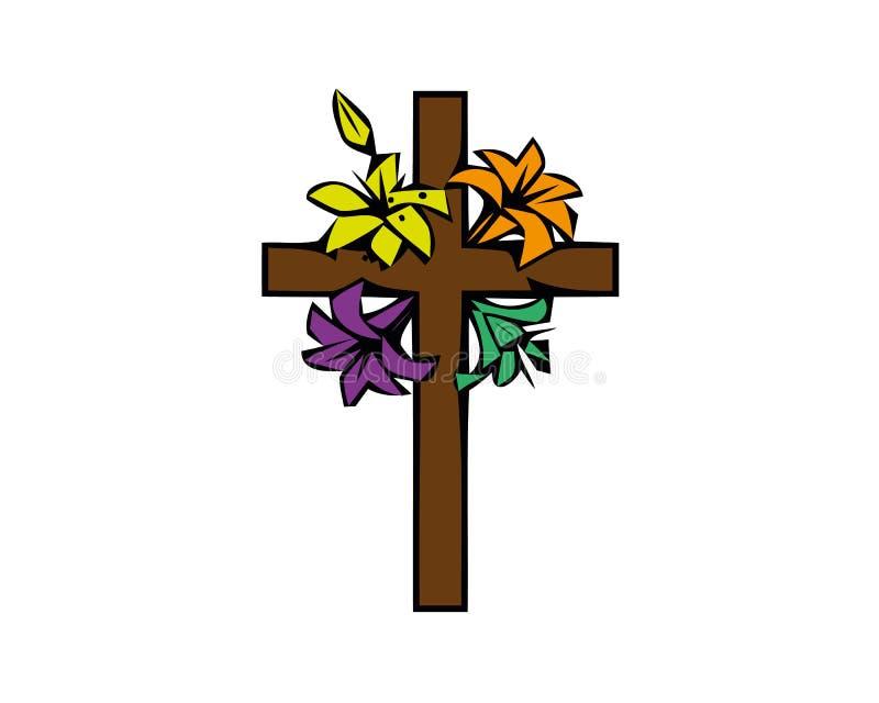 Illustrationen i målat glassstilmålning på religiösa teman, målat glassfönster i formen av ett kristet kors vektor illustrationer