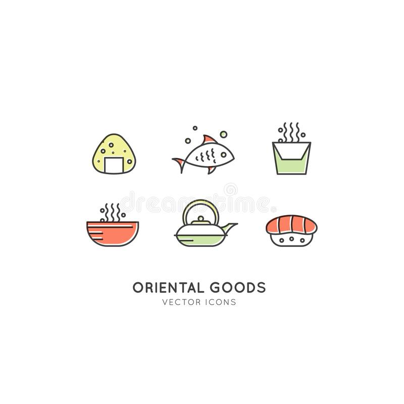 Illustrationen Logo Set av den asiatiska gatasnabbmatstången eller shoppar, sushi, Maki, Onigiri Salmon Roll med pinnar, nudlar o stock illustrationer