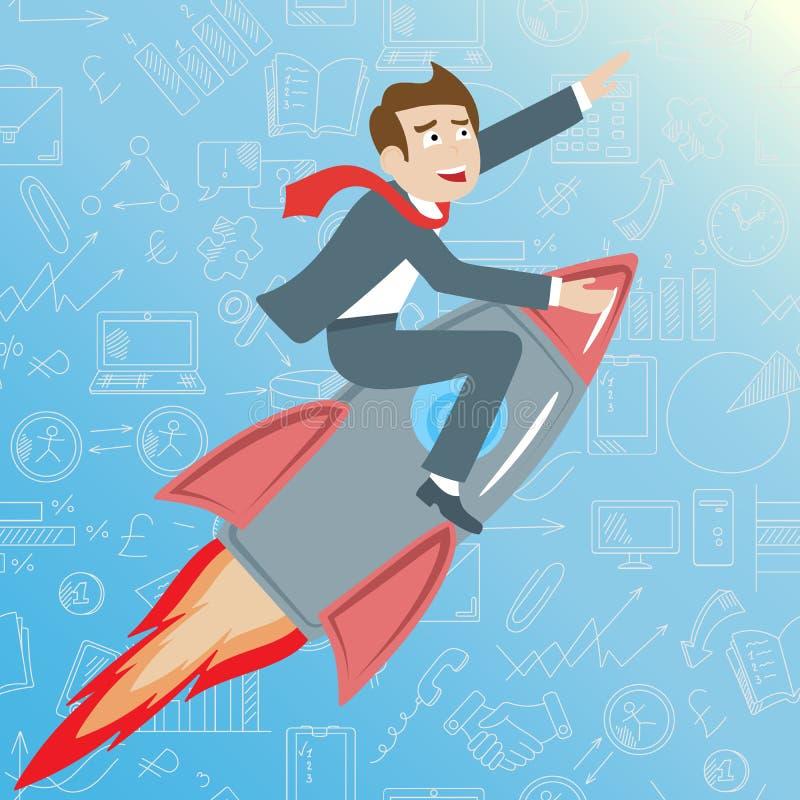 Illustrationen med affärsmannen som rider en raket, går upp på en blå bakgrund med symboler på en temaaffär, begreppet av framgån stock illustrationer