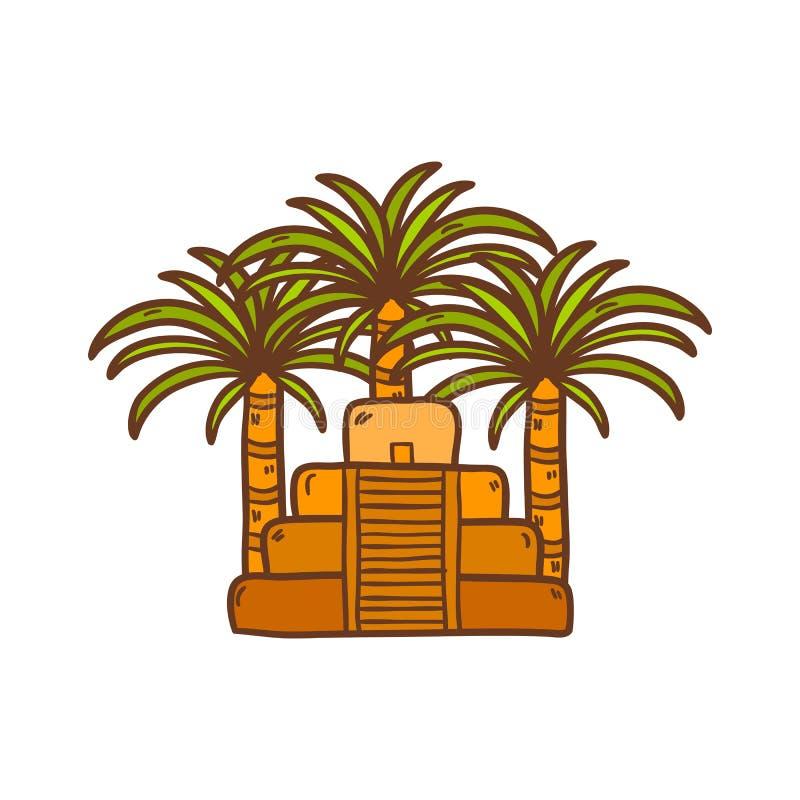 Illustrationen med den aztec pyramiden för tecknade filmen och gömma i handflatan vektor illustrationer