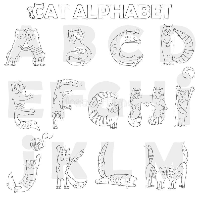 Illustrationen med det latinska alfabetet, del 1, från A till M, den roliga tecknad filmkatten i form av bokstäver, färgläggningb royaltyfri illustrationer
