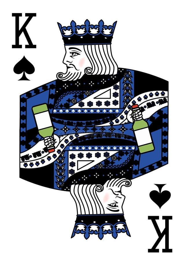 Illustrationen med det spela kortet - konungen och flaskan vektor illustrationer