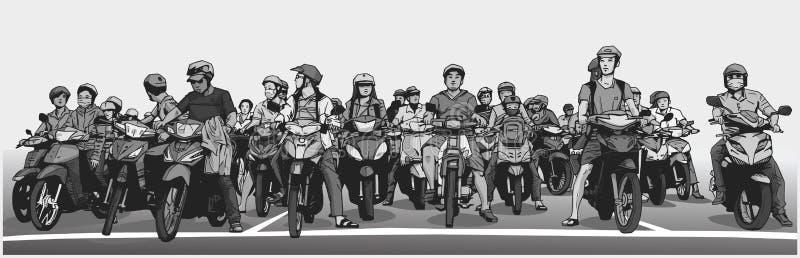 Illustrationen med detaljen av den upptagna asiatiska gatan med mopeder och mopeds på stoppet undertecknar stock illustrationer